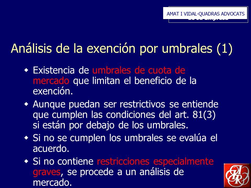 Inserte aquí el logo de su Empresa Análisis de la exención por umbrales (1) Existencia de umbrales de cuota de mercado que limitan el beneficio de la exención.