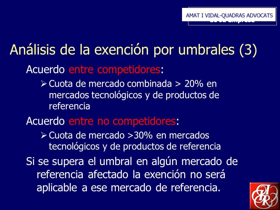 Inserte aquí el logo de su Empresa Análisis de la exención por umbrales (3) Acuerdo entre competidores: Cuota de mercado combinada > 20% en mercados t