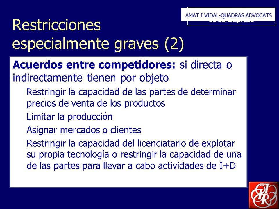 Inserte aquí el logo de su Empresa Restricciones especialmente graves (2) Acuerdos entre competidores: si directa o indirectamente tienen por objeto R