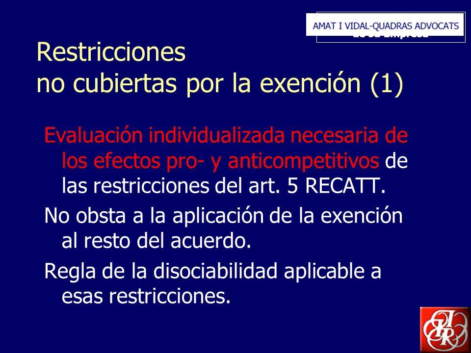 Inserte aquí el logo de su Empresa Restricciones no cubiertas por la exención (1) Evaluación individualizada necesaria de los efectos pro- y anticompetitivos de las restricciones del art.