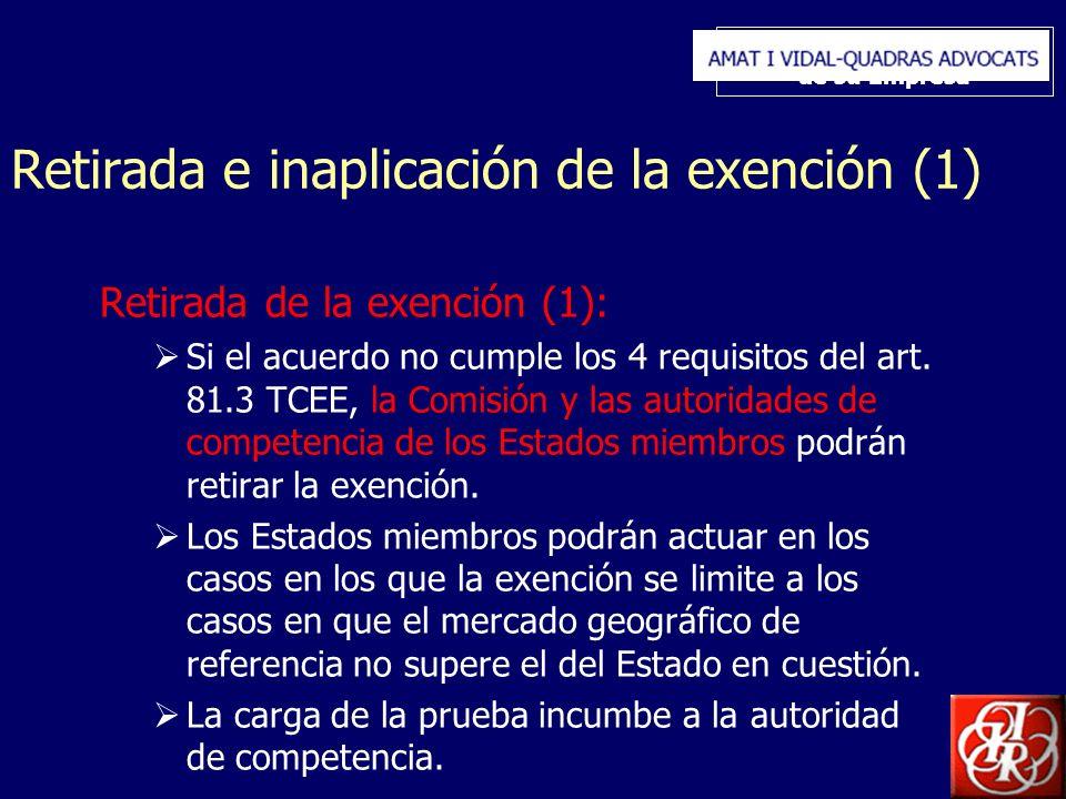 Inserte aquí el logo de su Empresa Retirada e inaplicación de la exención (1) Retirada de la exención (1): Si el acuerdo no cumple los 4 requisitos del art.