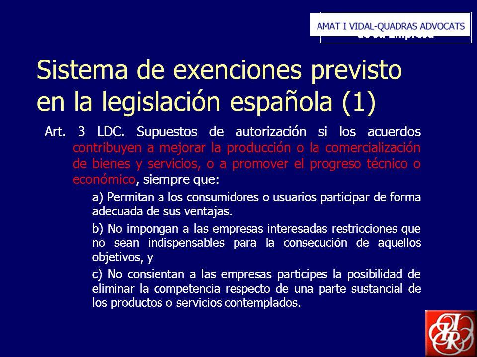Inserte aquí el logo de su Empresa Sistema de exenciones previsto en la legislación española (1) Art. 3 LDC. Supuestos de autorización si los acuerdos