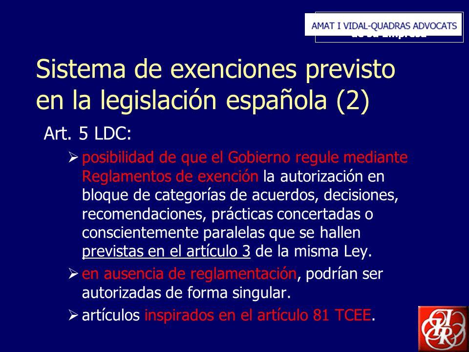 Inserte aquí el logo de su Empresa Sistema de exenciones previsto en la legislación española (2) Art. 5 LDC: posibilidad de que el Gobierno regule med