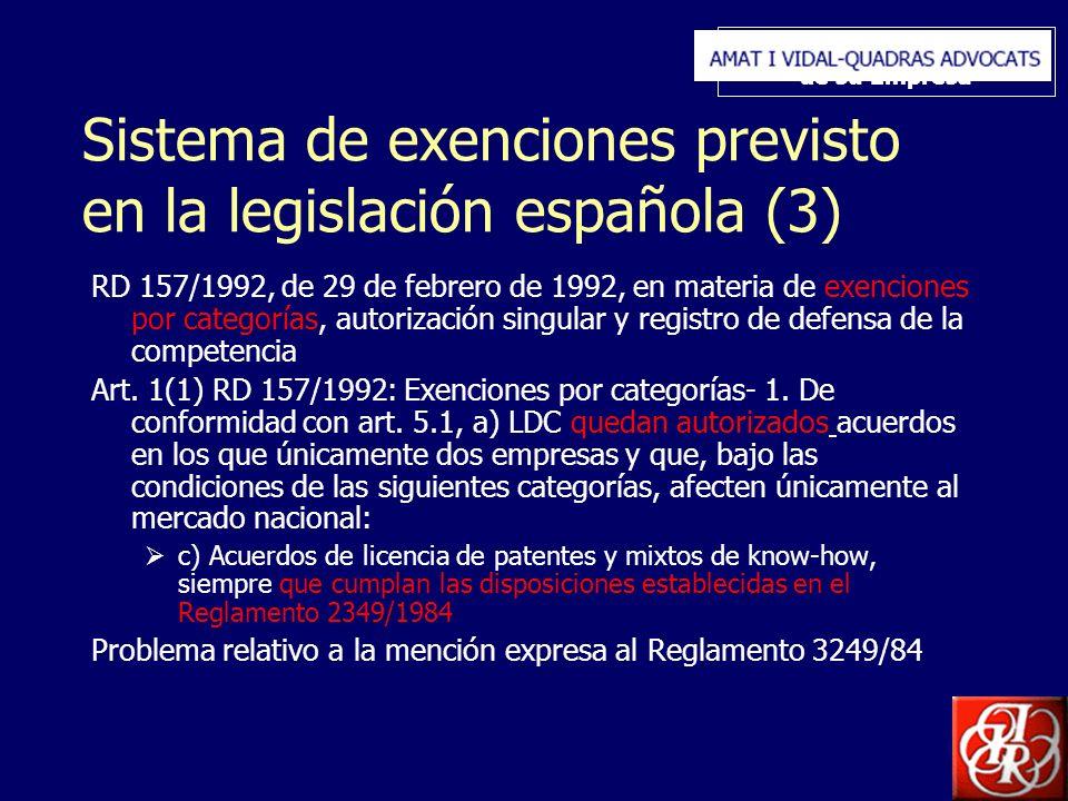 Inserte aquí el logo de su Empresa Sistema de exenciones previsto en la legislación española (3) RD 157/1992, de 29 de febrero de 1992, en materia de exenciones por categorías, autorización singular y registro de defensa de la competencia Art.