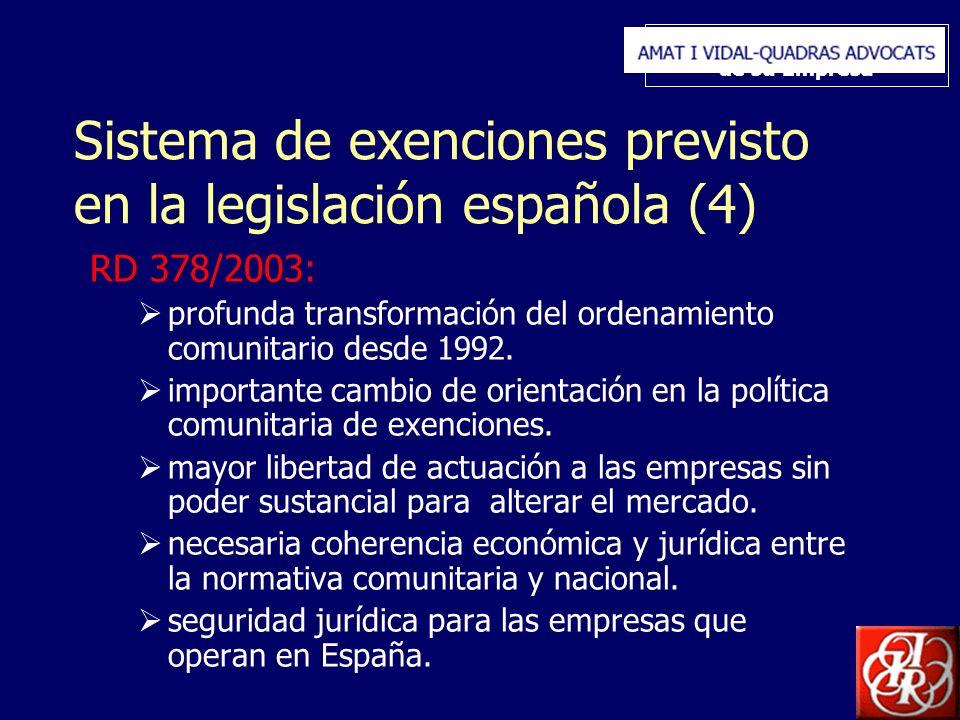 Inserte aquí el logo de su Empresa Sistema de exenciones previsto en la legislación española (4) RD 378/2003: profunda transformación del ordenamiento comunitario desde 1992.