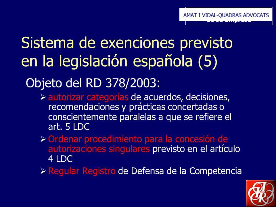 Inserte aquí el logo de su Empresa Sistema de exenciones previsto en la legislación española (5) Objeto del RD 378/2003: autorizar categorías de acuerdos, decisiones, recomendaciones y prácticas concertadas o conscientemente paralelas a que se refiere el art.