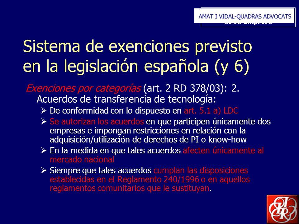 Inserte aquí el logo de su Empresa Sistema de exenciones previsto en la legislación española (y 6) Exenciones por categorías (art. 2 RD 378/03): 2. Ac