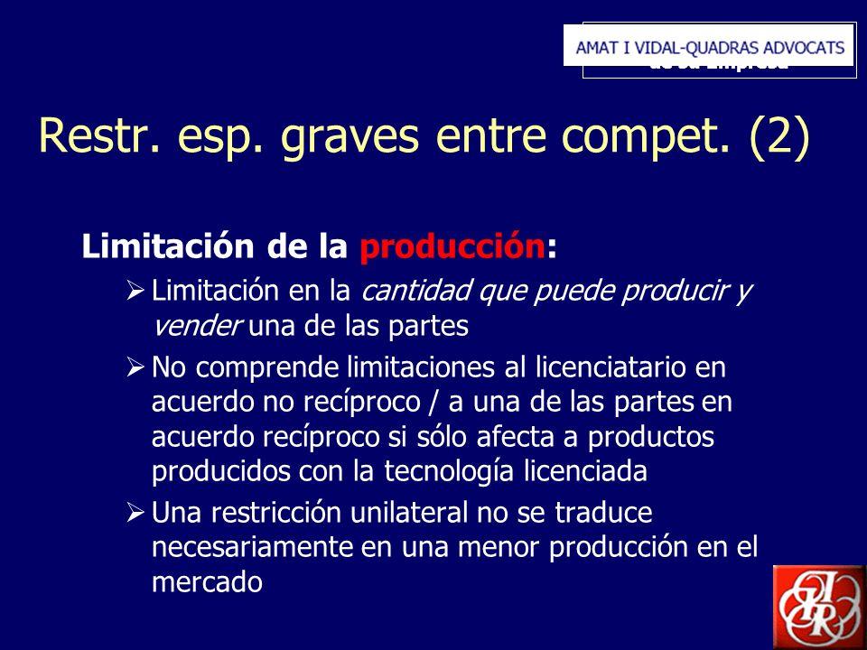 Inserte aquí el logo de su Empresa Restr. esp. graves entre compet. (2) Limitación de la producción: Limitación en la cantidad que puede producir y ve