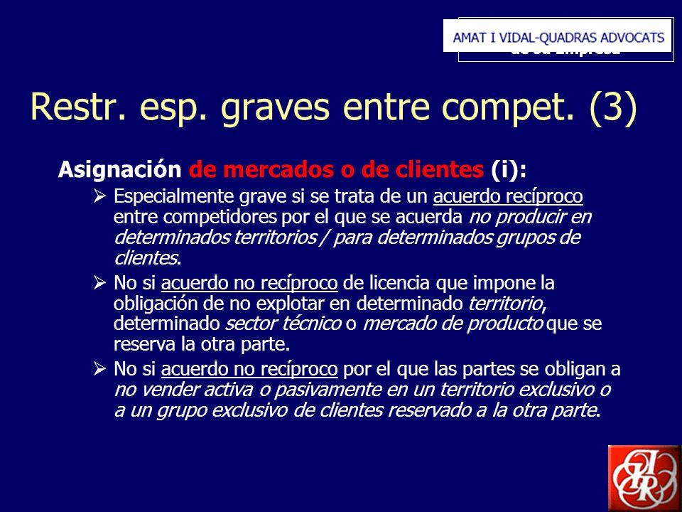 Inserte aquí el logo de su Empresa Restr. esp. graves entre compet. (3) Asignación de mercados o de clientes (i): Especialmente grave si se trata de u