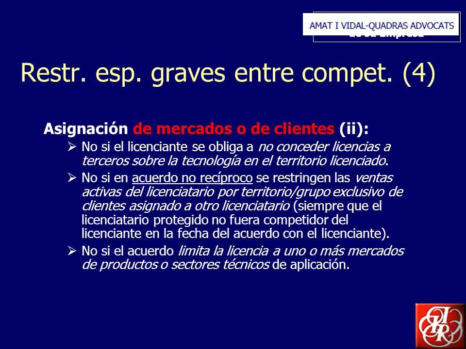 Inserte aquí el logo de su Empresa Restr. esp. graves entre compet. (4) Asignación de mercados o de clientes (ii): No si el licenciante se obliga a no