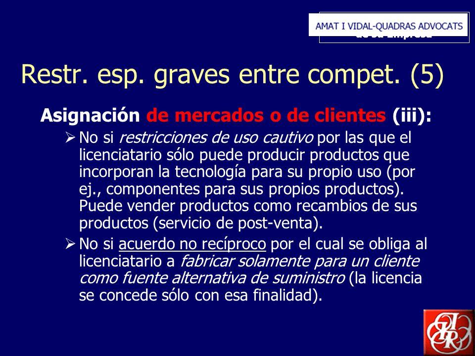 Inserte aquí el logo de su Empresa Restr. esp. graves entre compet. (5) Asignación de mercados o de clientes (iii): No si restricciones de uso cautivo