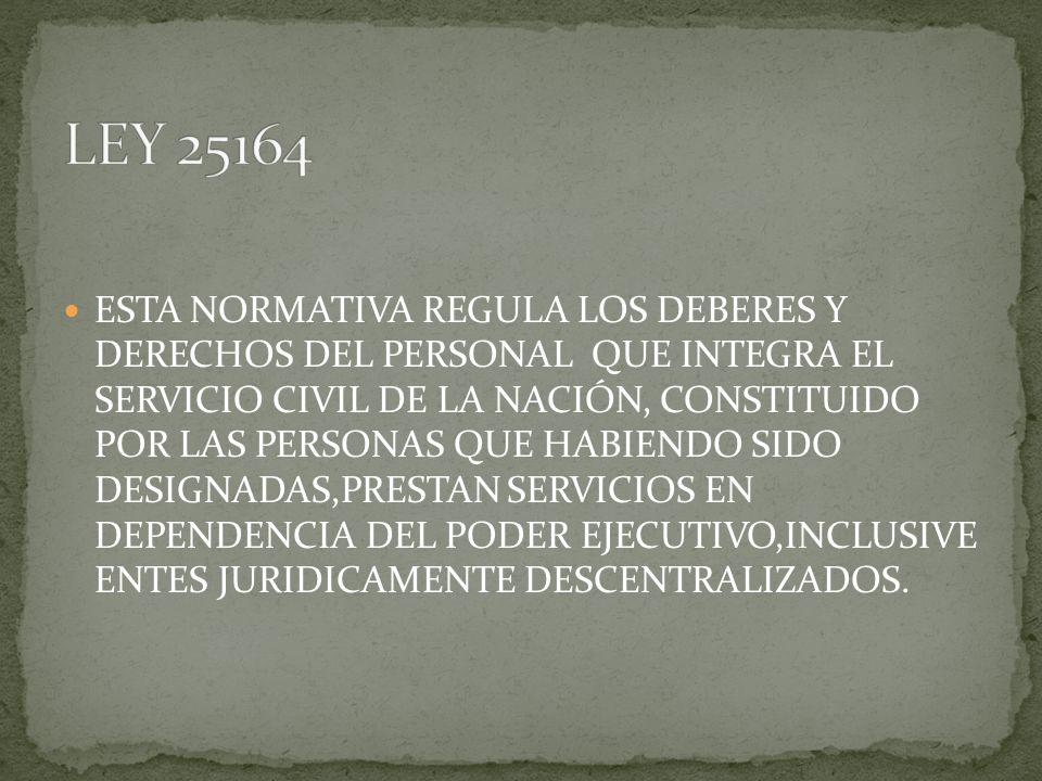 ESTA NORMATIVA REGULA LOS DEBERES Y DERECHOS DEL PERSONAL QUE INTEGRA EL SERVICIO CIVIL DE LA NACIÓN, CONSTITUIDO POR LAS PERSONAS QUE HABIENDO SIDO D