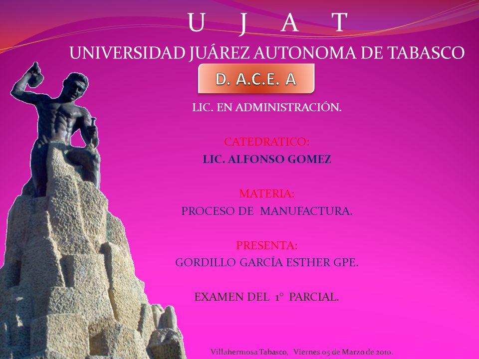 U J A T UNIVERSIDAD JUÁREZ AUTONOMA DE TABASCO LIC.