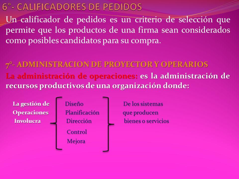 Un calificador de pedidos es un criterio de selección que permite que los productos de una firma sean considerados como posibles candidatos para su compra.