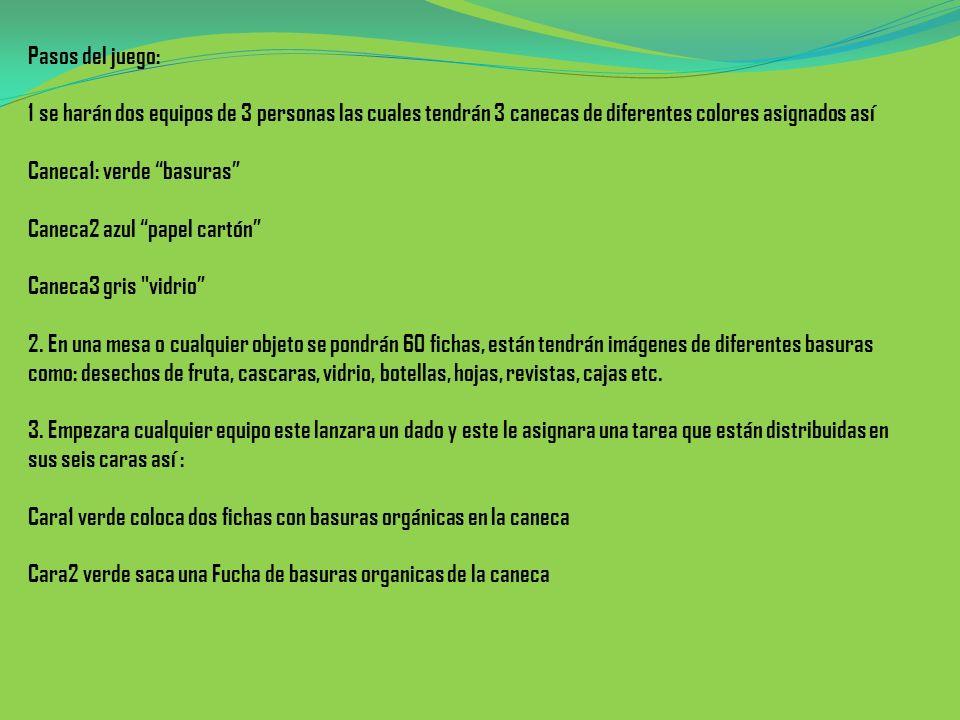 Pasos del juego: 1 se harán dos equipos de 3 personas las cuales tendrán 3 canecas de diferentes colores asignados así Caneca1: verde basuras Caneca2