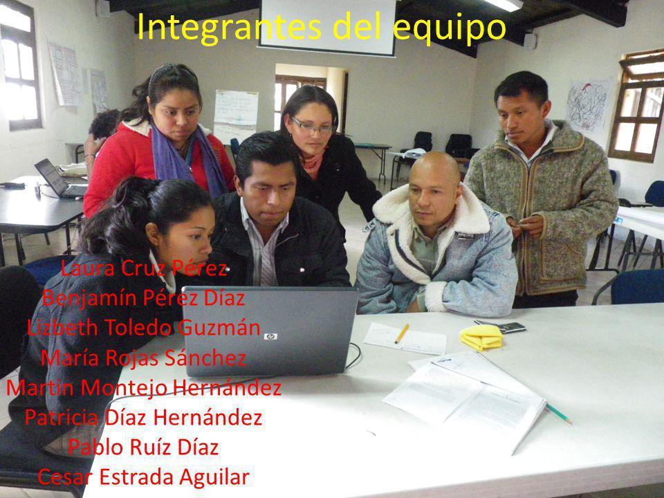 Integrantes del equipo Laura Cruz Pérez Benjamín Pérez Díaz Lizbeth Toledo Guzmán María Rojas Sánchez Martin Montejo Hernández Patricia Díaz Hernández Pablo Ruíz Díaz Cesar Estrada Aguilar I