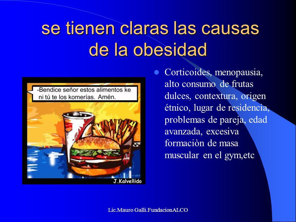 Lic.Mauro Galli.FundacionALCO se tienen claras las causas de la obesidad se tienen claras las causas de la obesidad Corticoides, menopausia, alto cons