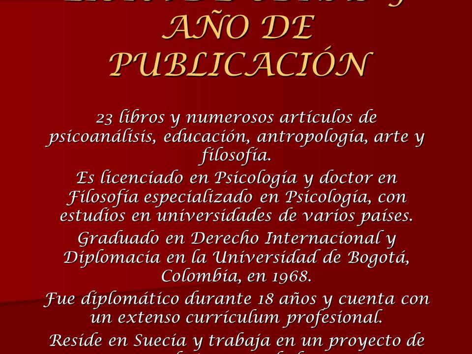 LISTA DE OBRAS Y AÑO DE PUBLICACIÓN 23 libros y numerosos artículos de psicoanálisis, educación, antropología, arte y filosofía. Es licenciado en Psic