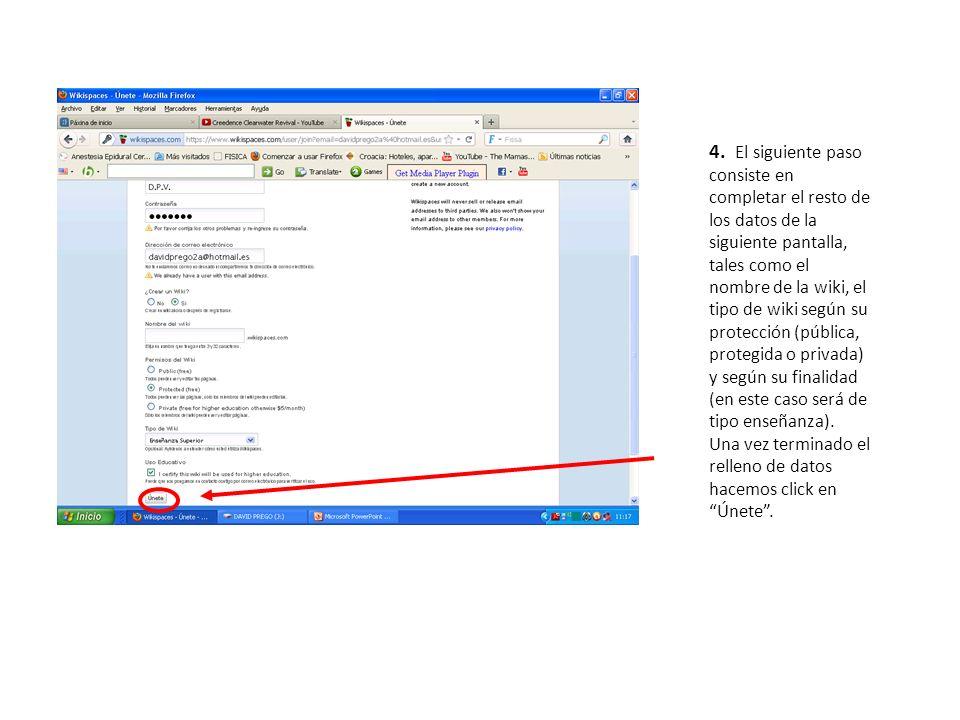 4. El siguiente paso consiste en completar el resto de los datos de la siguiente pantalla, tales como el nombre de la wiki, el tipo de wiki según su p
