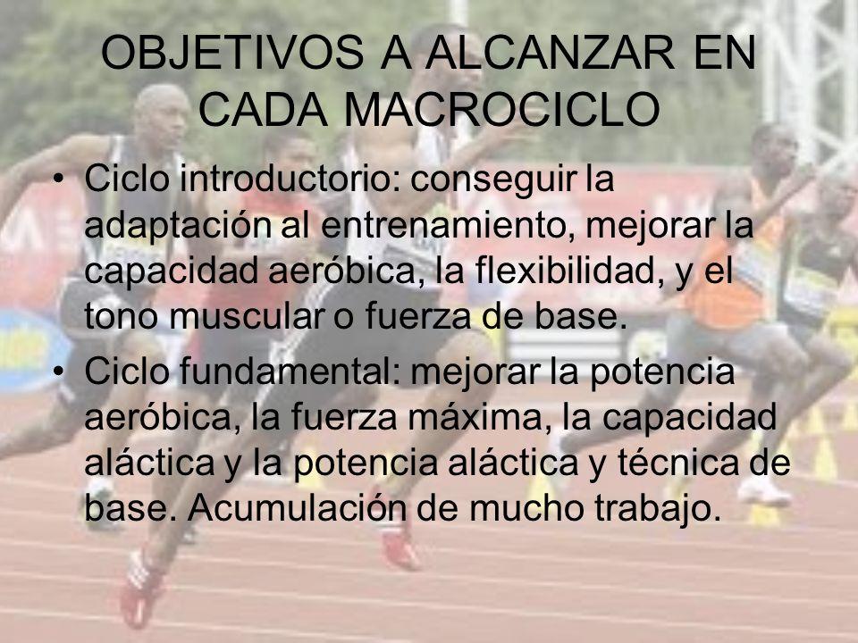 OBJETIVOS A ALCANZAR EN CADA MACROCICLO Ciclo introductorio: conseguir la adaptación al entrenamiento, mejorar la capacidad aeróbica, la flexibilidad,