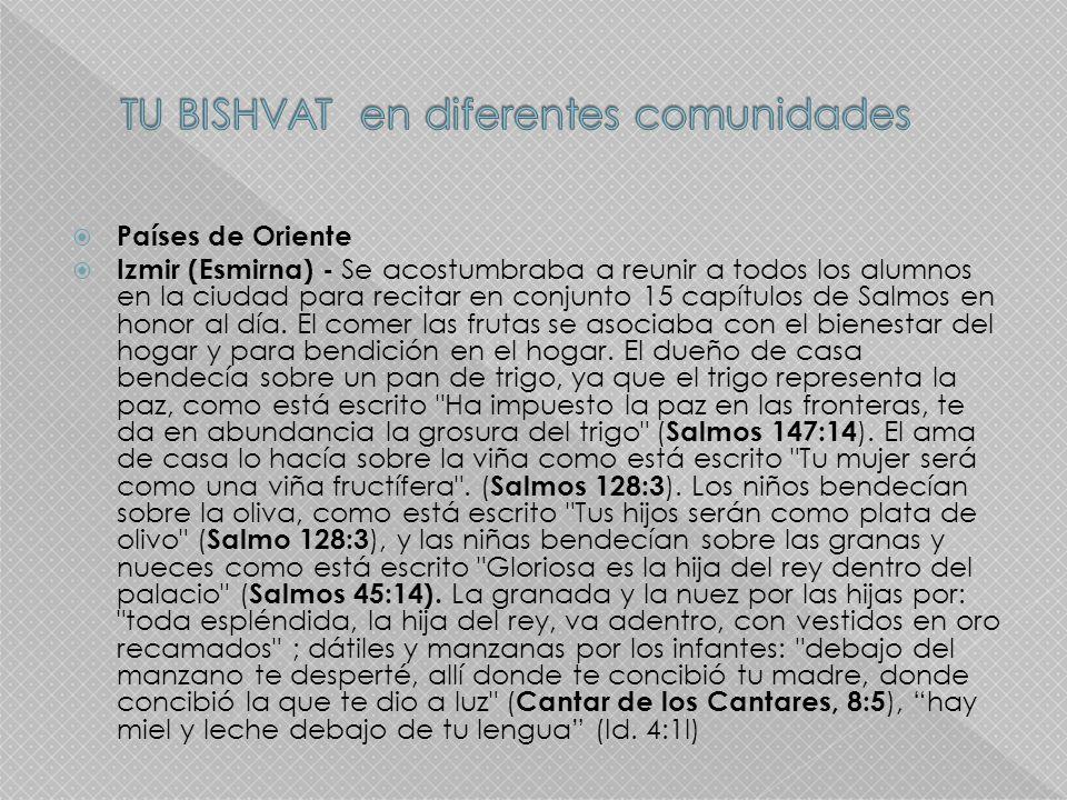 Países de Oriente Izmir (Esmirna) - Se acostumbraba a reunir a todos los alumnos en la ciudad para recitar en conjunto 15 capítulos de Salmos en honor