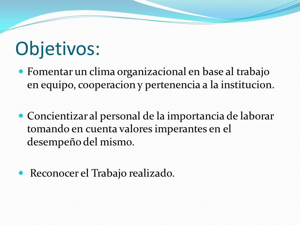 Objetivos: Fomentar un clima organizacional en base al trabajo en equipo, cooperacion y pertenencia a la institucion. Concientizar al personal de la i
