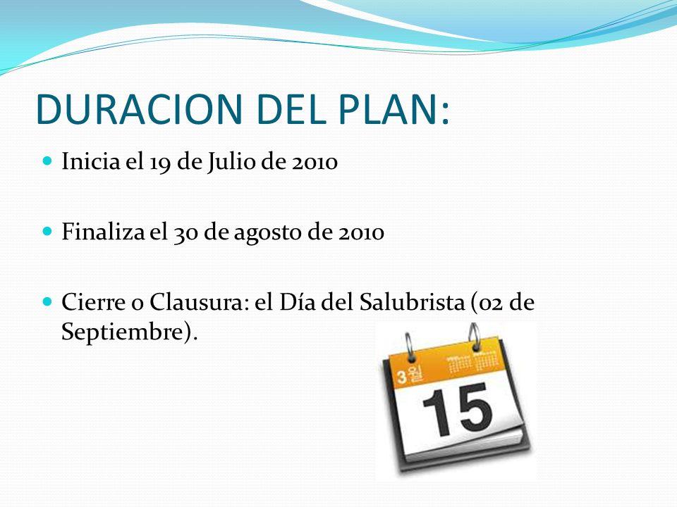 DURACION DEL PLAN: Inicia el 19 de Julio de 2010 Finaliza el 30 de agosto de 2010 Cierre o Clausura: el Día del Salubrista (02 de Septiembre).