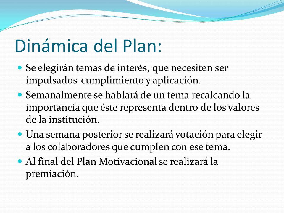 Dinámica del Plan: Se elegirán temas de interés, que necesiten ser impulsados cumplimiento y aplicación. Semanalmente se hablará de un tema recalcando