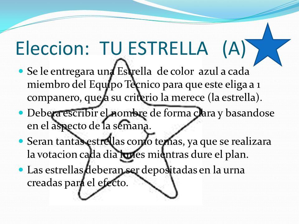 Eleccion: TU ESTRELLA (A) Se le entregara una Estrella de color azul a cada miembro del Equipo Tecnico para que este eliga a 1 companero, que a su cri