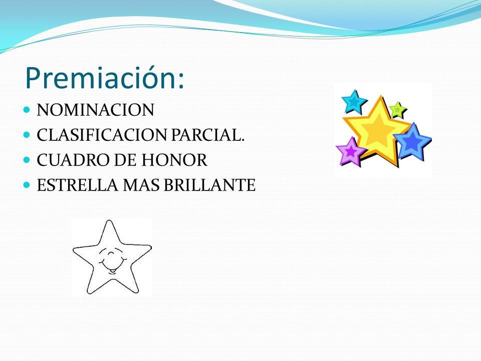 Premiación: NOMINACION CLASIFICACION PARCIAL. CUADRO DE HONOR ESTRELLA MAS BRILLANTE