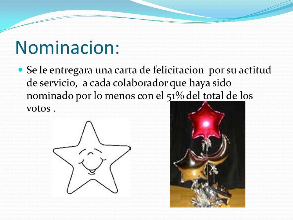 Nominacion: Se le entregara una carta de felicitacion por su actitud de servicio, a cada colaborador que haya sido nominado por lo menos con el 51% de