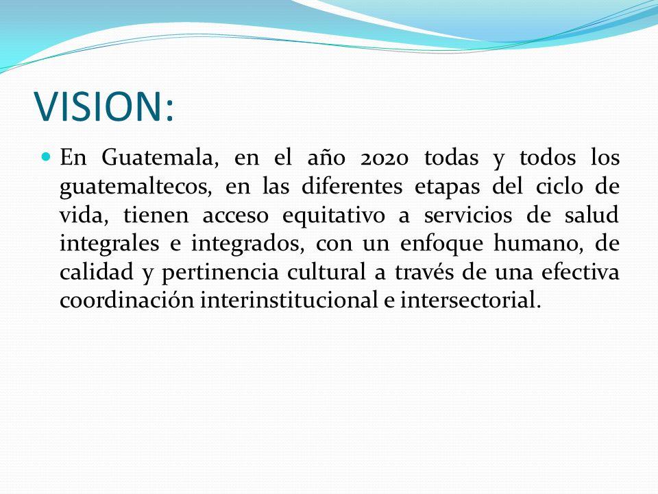 VISION: En Guatemala, en el año 2020 todas y todos los guatemaltecos, en las diferentes etapas del ciclo de vida, tienen acceso equitativo a servicios