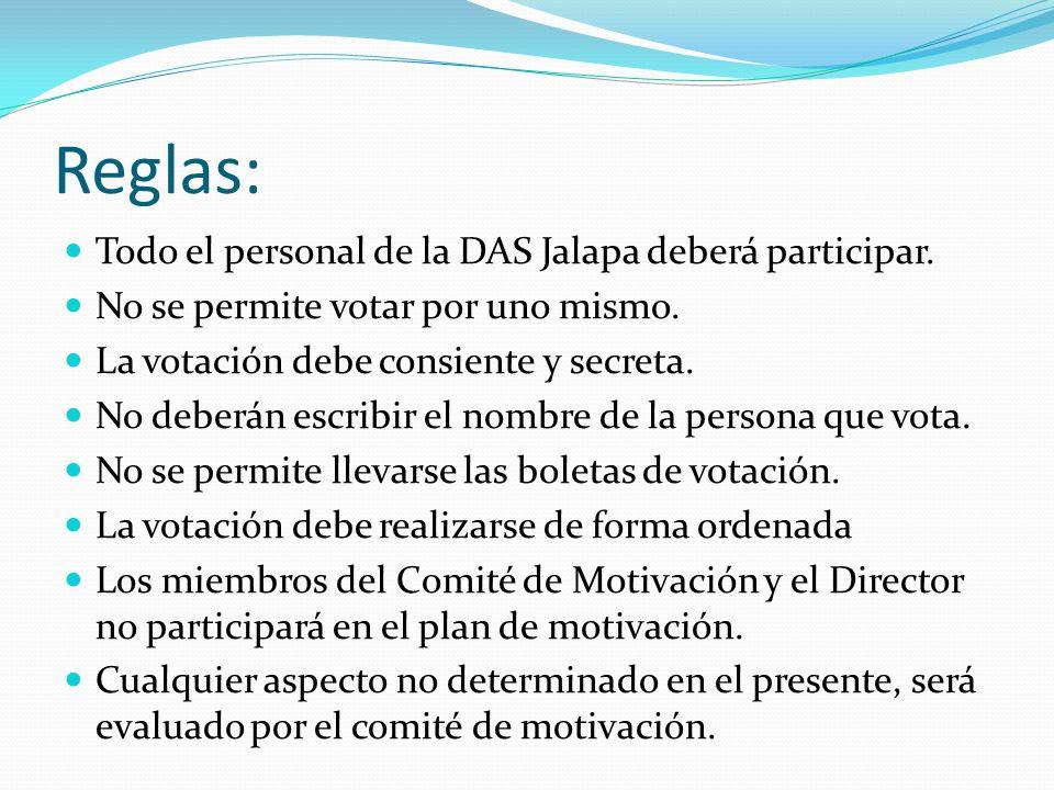 Reglas: Todo el personal de la DAS Jalapa deberá participar. No se permite votar por uno mismo. La votación debe consiente y secreta. No deberán escri