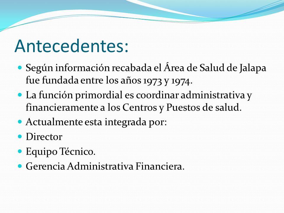 Antecedentes: Según información recabada el Área de Salud de Jalapa fue fundada entre los años 1973 y 1974. La función primordial es coordinar adminis