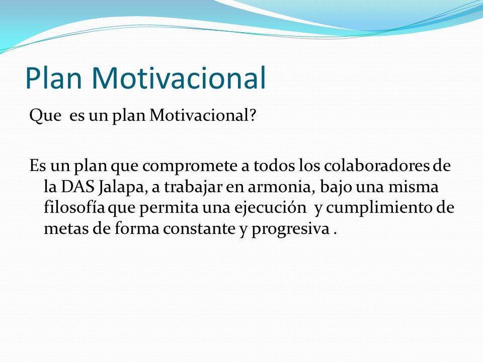 Plan Motivacional Que es un plan Motivacional? Es un plan que compromete a todos los colaboradores de la DAS Jalapa, a trabajar en armonia, bajo una m