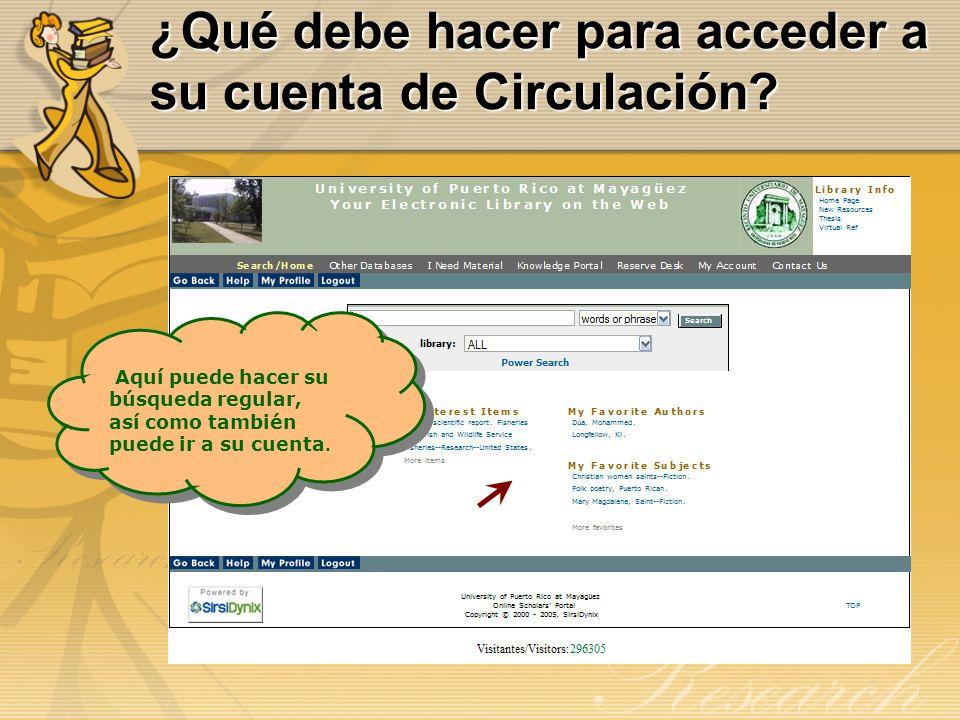 ¿Qué debe hacer para acceder a su cuenta de Circulación? Aquí puede hacer su búsqueda regular, así como también puede ir a su cuenta. Aquí puede hacer