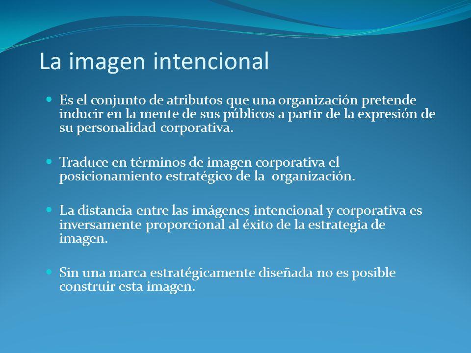 La imagen intencional Es el conjunto de atributos que una organización pretende inducir en la mente de sus públicos a partir de la expresión de su per