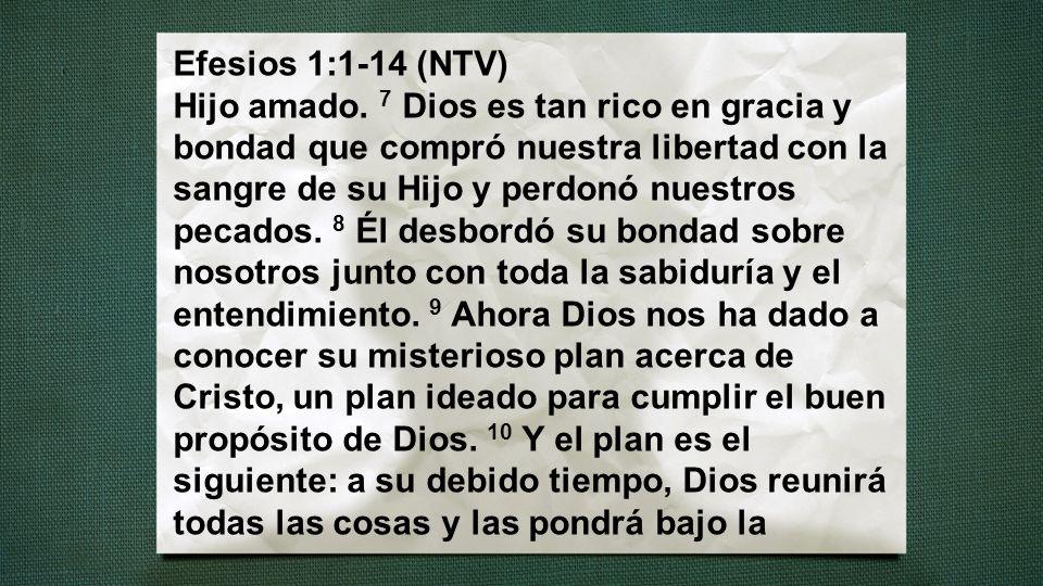 Efesios 1:1-14 (NTV) Hijo amado. 7 Dios es tan rico en gracia y bondad que compró nuestra libertad con la sangre de su Hijo y perdonó nuestros pecados