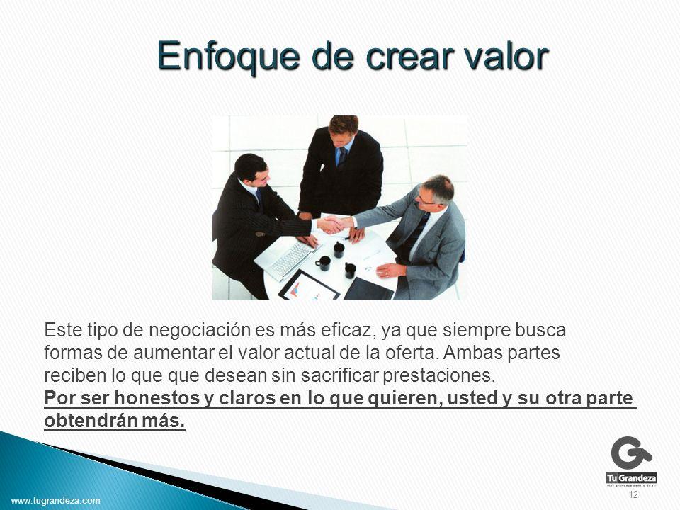 Este tipo de negociación es más eficaz, ya que siempre busca formas de aumentar el valor actual de la oferta.