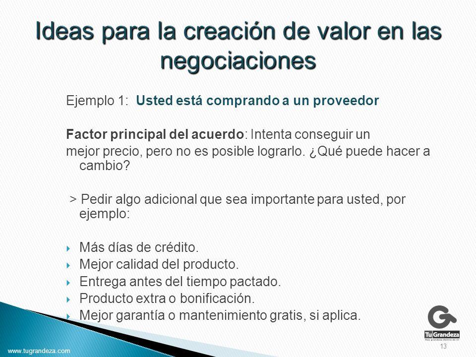 Ejemplo 1: Usted está comprando a un proveedor Factor principal del acuerdo: Intenta conseguir un mejor precio, pero no es posible lograrlo.