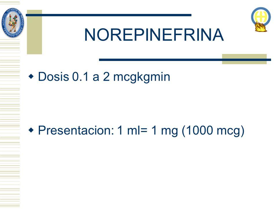 NOREPINEFRINA Dosis 0.1 a 2 mcgkgmin Presentacion: 1 ml= 1 mg (1000 mcg)