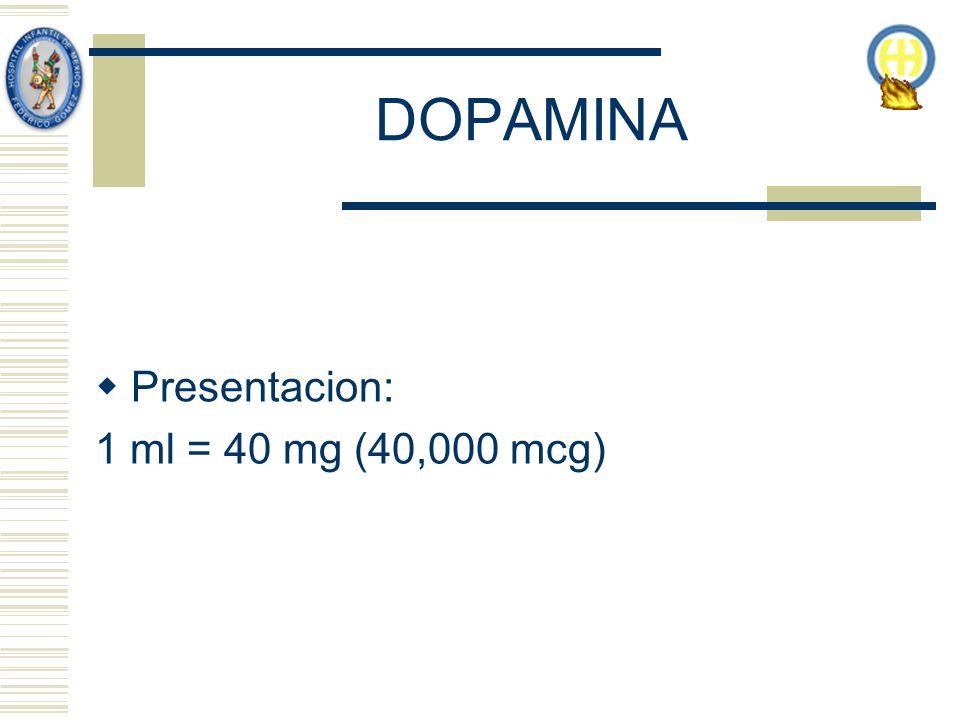 DOPAMINA Presentacion: 1 ml = 40 mg (40,000 mcg)