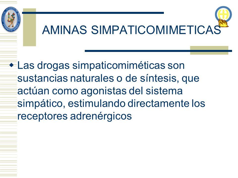 AMINAS SIMPATICOMIMETICAS Las drogas simpaticomiméticas son sustancias naturales o de síntesis, que actúan como agonistas del sistema simpático, estimulando directamente los receptores adrenérgicos