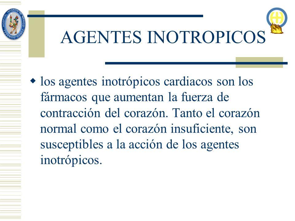 AGENTES INOTROPICOS los agentes inotrópicos cardiacos son los fármacos que aumentan la fuerza de contracción del corazón. Tanto el corazón normal como