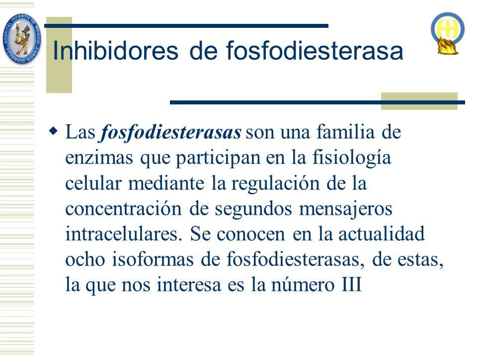 Inhibidores de fosfodiesterasa Las fosfodiesterasas son una familia de enzimas que participan en la fisiología celular mediante la regulación de la concentración de segundos mensajeros intracelulares.