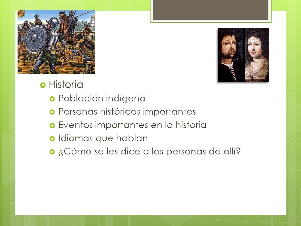 Historia Población indígena Personas históricas importantes Eventos importantes en la historia Idiomas que hablan ¿Cómo se les dice a las personas de allí?