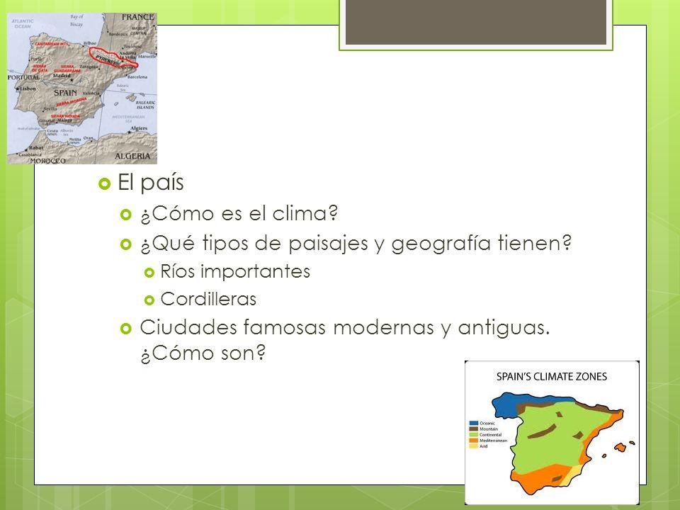 El país ¿Cómo es el clima? ¿Qué tipos de paisajes y geografía tienen? Ríos importantes Cordilleras Ciudades famosas modernas y antiguas. ¿Cómo son?