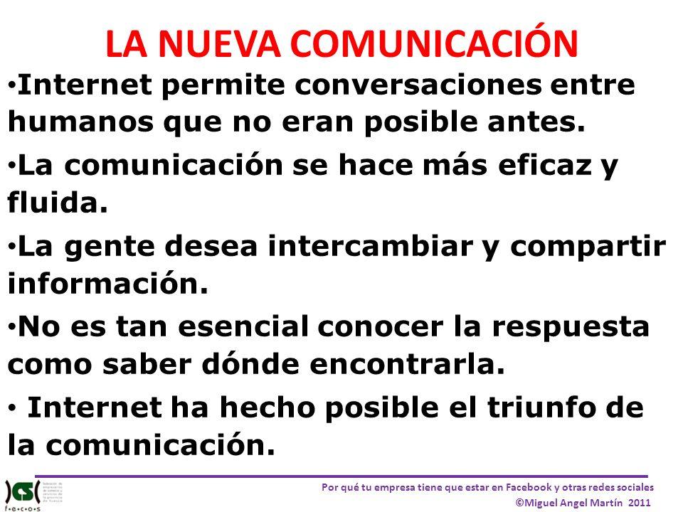 Por qué tu empresa tiene que estar en Facebook y otras redes sociales ©Miguel Angel Martín 2011 LA NUEVA COMUNICACIÓN Internet permite conversaciones