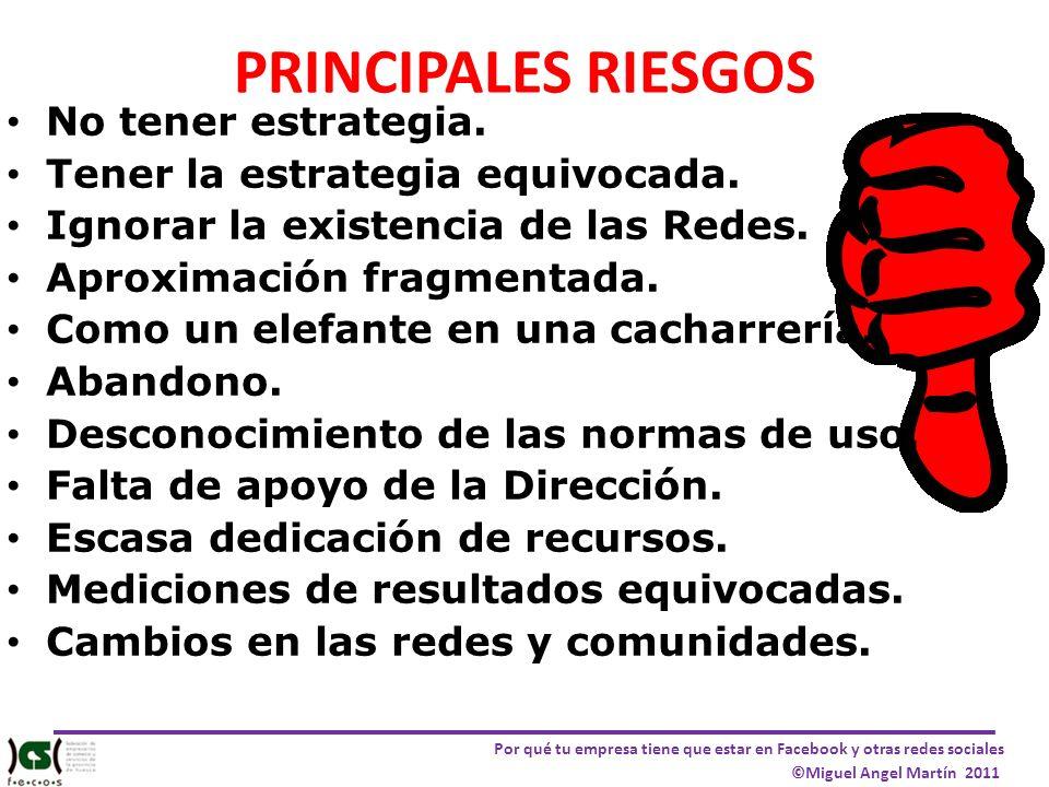 Por qué tu empresa tiene que estar en Facebook y otras redes sociales ©Miguel Angel Martín 2011 PRINCIPALES RIESGOS No tener estrategia. Tener la estr