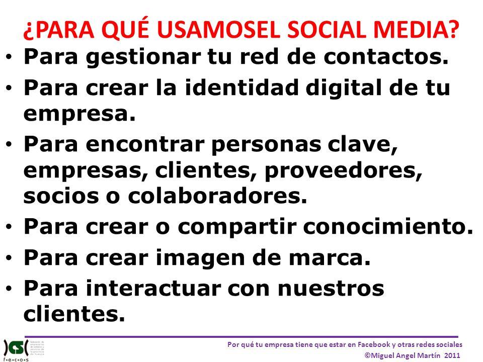 Por qué tu empresa tiene que estar en Facebook y otras redes sociales ©Miguel Angel Martín 2011 ¿PARA QUÉ USAMOSEL SOCIAL MEDIA? Para gestionar tu red